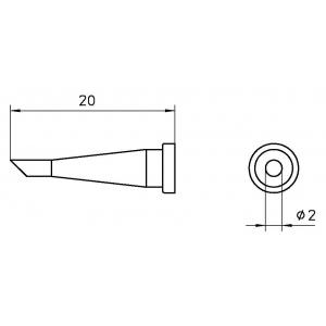 LT-22C kolviots lõigatud 45° otsaga 2mm