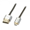 HDMI - Micro HDMI kaabel 0.5m, CROMO Slim Active High Speed + Ethernet, 2160p, 3D