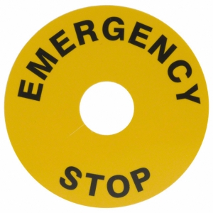 60mm Yellow Label with text Emergency Stop