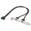 Üleminek 2x USB 3.0 (F) - USB 3.0 20 pin (F) 0.4m, arvuti taga paneelile