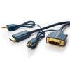 HDMI - DVI-D Dual Link kaabel + 3.5mm 3.0m, kullatud, OFC, topeltvarjega, 1080p, tumesinine