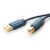 USB 2.0 kaabel A - B 3.0m, kullatud, OFC, topeltvarjega, tumesinine