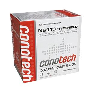 SAT/TV koaksiaalkaabel RG6 DIGITAL 113, 75Ohm 6,8mm valge 300m/kast