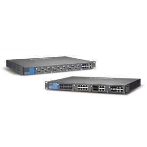 IEC 61850-3 Layer 3 modulaarne switch: 4 lisamooduli võimalus, kuni 24+4G porti, 1 x toiteplokk 88-300 VDC või 85-264 VAC, -40 k
