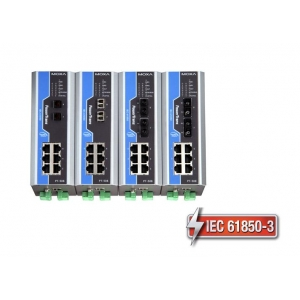 IEC 61850-3 switch DIN-liistule: 6 x 10/100BaseT(X), 2 x 100BaseFX multi-mode ST, 1 x toiteplokk 48 VDC, -40 kuni 85°C