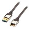 USB 3.0 kaabel A - Micro B 1.0m, CROMO, tumehall