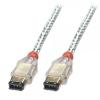 FireWire IEEE 1394 kaabel 6 pin/ 6 pin, 25m läbipaistev
