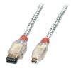 FireWire IEEE 1394 kaabel 4 pin/ 6 pin, 25m läbipaistev