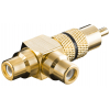 Adapter RCA (M) - 2xRCA (F), kullatud, must