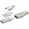 USB pistik, Tüüp A, kaablile, joodetav