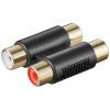 Adapter 2xRCA (F) -(F), plastik, kullatud kontaktidega