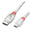 USB 2.0 kaabel A - Mini B 0.5m, läbipaistev