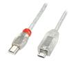 USB 2.0 kaabel Micro B - Mini B 0.5m,  OTG, läbipaistev