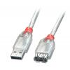 USB 2.0 pikenduskaabel A - A 0.5m, läbipaistev