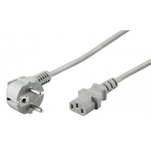 220V Toitekaabel 2.0m, hall, CEE 7/7 pistik nurgaga - C13
