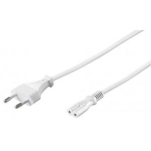 220V Toitekaabel 1.5m, valge, CEE 7/16 maanduseta - IEC C7
