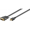 HDMI - DVI-D Single Link kaabel 2.0m, kullatud 1080p (sign suund DVI > HDMI)