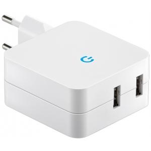USB laadija, 230V - 2xUSB (4,2A), valge