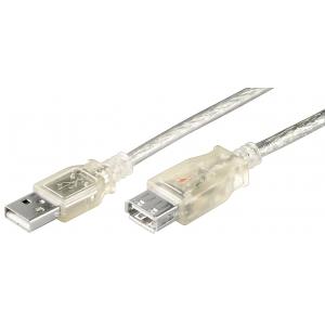 USB 2.0 pikenduskaabel A - A 0.6m, läbipaistev