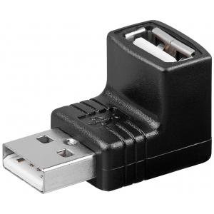 Adapter USB 2.0 A (F) - A (M), 90 kraadise nurgaga