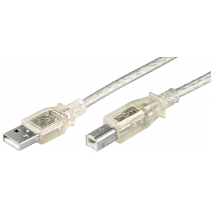 USB 2.0 kaabel A - B 5.0m, läbipaistev