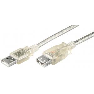USB 2.0 pikenduskaabel A - A 5.0m, läbipaistev