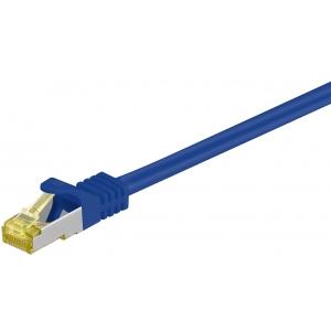 Võrgukaabel Cat7 S/FTP 0.5m, sinine, PiMF, LSZH, CU