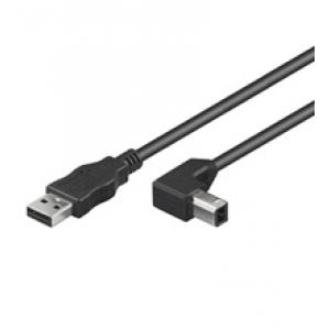 USB 2.0 kaabel A - B nurgaga 1.0m, must