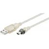 USB 2.0 kaabel A - Mini B 0.6m, läbipaistev