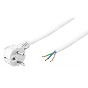 220V Toitekaabel 2.0m, valge, CEE 7/7 - 3 x 0.75 mm2 lahtine juhe
