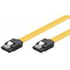 SATA kaabel (SATA 1.5GBs / 3GBs / 6GBs) 0.3m, kollane, lukustiga