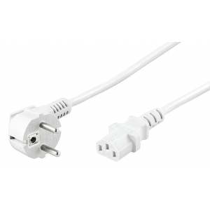 220V Toitekaabel 3.0m, valge, CEE 7/7 pistik nurgaga- C13
