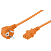 220V Toitekaabel 2.0m oranž, pistik nurgaga, CEE 7/7 - C13
