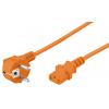 220V Toitekaabel 3.0m oranž, pistik nurgaga, CEE 7/7 - C13