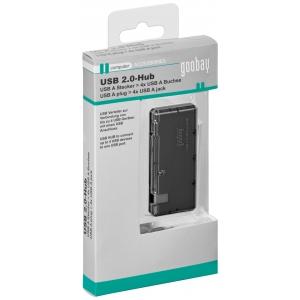 USB 2.0 hub: 4 porti, must, Slimline + 0.4m kaabel