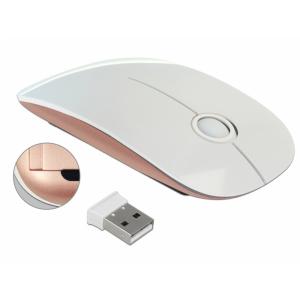 Juhtmevaba optiline hiir, 3 nuppu + rullik, nano usb vastuvõtja, valge/roosa