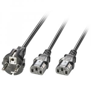220V Toitekaabel 2.1m, must, Schuko - 2x C13 (Y-kaabel) sirge