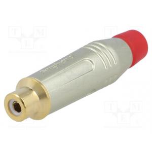 RCA pesa kaablile metallist, punane, kullatud 3-7 mm, Amphenol