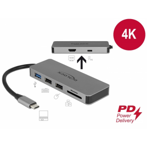 USB-C dock: 1x HDMI 4K, 2x USB 2.0, 1x USB 3.0, 1x USB-C PD, SD pesad, sobib ka nutiseadmetele ja mac´ile
