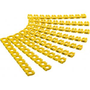 Kaabli markeerimise klambrid, 1.5mm-2.5mm kaablile, 90tk kompektis, kollane, tähted A-C