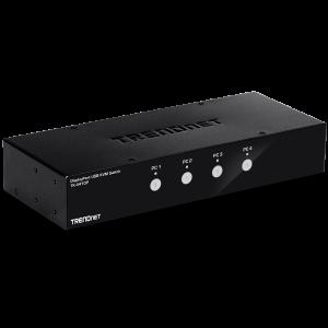 KVM switch: 4 porti, Displayport, 2xUSB A, audio, mikrofon, 4K UHD 3840x2160