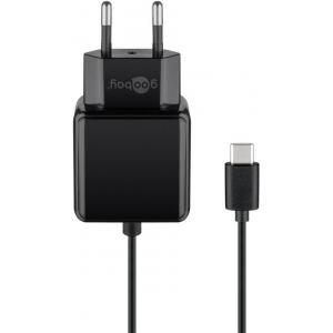 USB-C laadija 5V 3A, kaabli pikkus 1.5m, must...