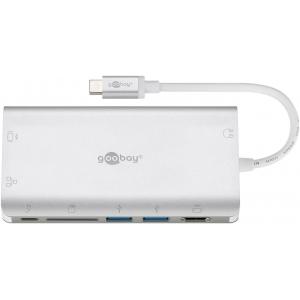 Konverter USB-C (M) - HDMI (F) 1080@60Hz / 4K@ 30Hz, 2xUSB 3.0, VGA, RJ45, USB-C laadimine