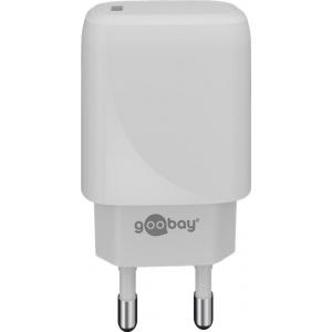 USB laadija 1xUSB-C, 100 - 240V > 5V 3A 20W, valge (sobib iPhone 12-le)