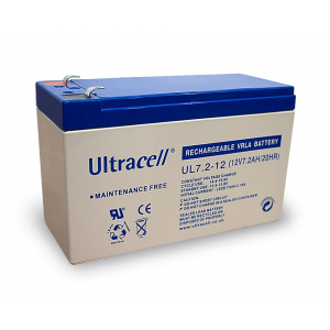 Pliiaku 12V 7,2 AH Ultracell, Faston 6.35mm (lai klemm)