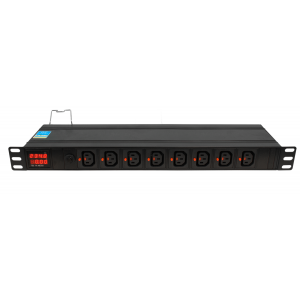 "Toitepaneel 19"" 1U, ees 8xC13, taga 8xC13, ampermeeter, IEC320 C20 16A / 250V toitepistik"