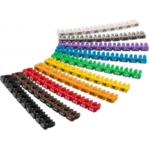 Kaabli markeerimise klambrid, 1.5mm-2.5mm kaablile, 10tk kompektis, värvilised, numbritega 0-9