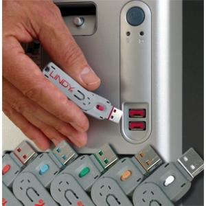 USB pordi lukk, valge, 4tk + võti