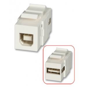 Keystone moodul: USB A (F) - B (F), valge
