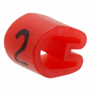 Kaablimärgis ´´2´´ punane, 7,9-12,7mm, kaablile / 250 tk pakis